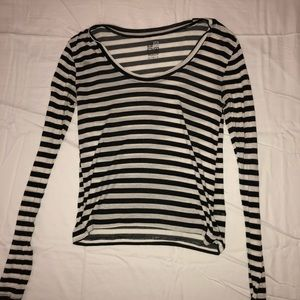 White/Black Striped Long Sleeve Top